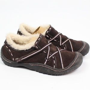J-41 Adventure On brown suede faux fur shoe pink